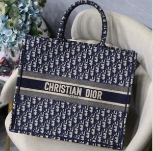 Dior Oblique Embroidered Dior Book Tote Blue