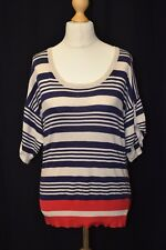 Ladies New Look Size 12 Cream/Blue/Red Striped Nautical Short Sleeve Knitted Top