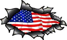 Carbon Fibre Fiber Ripped Torn Metal & American Stars & Stripes Flag car sticker