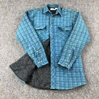 Northwest Territory Quilted Flannel Shirt Men's Sz Small Green Blue Plaid Lined