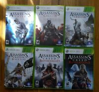 USED (Complete) Assassins Creed I-IV, Brotherhood, Revelations Xbox 360 Lot of 6