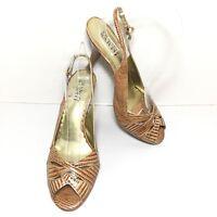 Women's Franco Sarto Brown Croc Print Leather Slingback Peep Toe Pumps Size 8 M