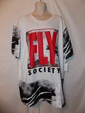 mens fly society  t- shirt 5XL nwt fighter planes white poly sleeves