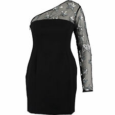 Millie Mackintosh Black Star Sequinned One Shoulder Celebrity Dress UK 16 BNWT