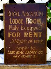 Antique Royal Arcanum Lancaster Pa Real Estate Engle Hambright Fraternity Sign