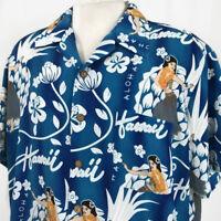 Kennington Mens Hawaiian Shirt Sz XL Blue Aloha Hawaii Hula Girl Dancer Floral