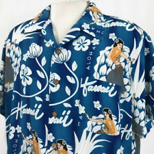 Kennington Mens Hawaiian Shirt Sz XL Blue Aloha Hawaii Hula Girl Dancer Floral