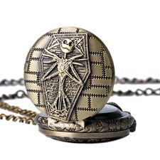 Nightmare Before Christmas Coffin Design Bronze Pocket Watch Pendant Necklace