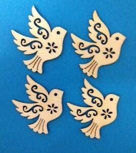 8 Natural Wooden Doves Wedding Card Making Scrapbook Craft Embellishments