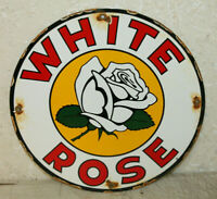 White Rose Gasoline Motor Oil Vintage Style Porcelain Signs Gas Pump Plate