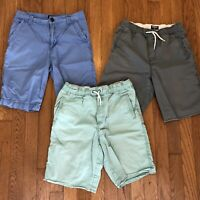Lot of 3 OSH KOSH B'Gosh Boys Size 10 Cotton Chino Casual Shorts Gray Blue Aqua