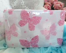 PINK PAISLEY FLOWERS BUTTERFIES & DAISY WHITE SHABBY COTTAGE CHIC FULL SHEET SET