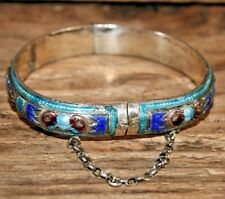 VINTAGE SILVER CHINESE ENAMEL HINGED REPOUSSE' BANGLE BRACELET RELIEF