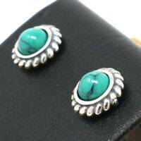 Vintage Antique Blue Turquoise Earrings Women Wedding Jewelry 14K Gold Plated