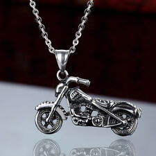 Mens Stainless Steel Silver Skull Motocycle Pendant Rolo Chain Necklace #N159