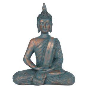 Blue & Copper Thai Sitting Buddha Spiritual Sculpture Home Ornament Gift 26 cm