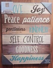 NEW TEAL BROWN CREAM WOOD EFFECT LOVE JOY HAPPINESS TEXT CANVAS WALL ART PICTURE