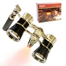 HQRP Opera Glasses Crystal Clear Optic CCO Black-Silver with Handle & LED Light