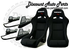 BRIDE VIOS III 3 Low Max Black Pair Bucket Seats + v2 LONG SIDE MOUNT + SLIDERS!