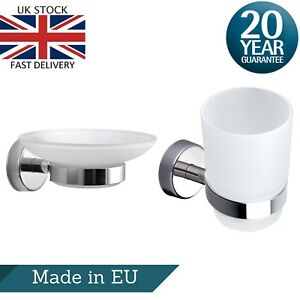 Glass Soap Dish Holder & Tumbler Toothbrush Holder Bathroom Wall Accessory Set