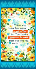 """Religious Bible Psalm 9:10 Trust God Cotton Fabric QT Trust In You 24""""X44"""" Panel"""