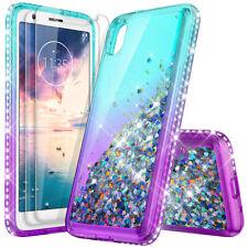 For Motorola Moto E6 /E5 Play Plus Hybrid Rubber Phone Case Cover+Tempered Glass