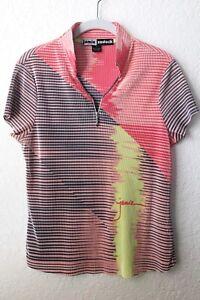 Jamie Sadock Womens Crinkle Micro Pleat 1/4 Zip Coral Black Golf Shirt Size S