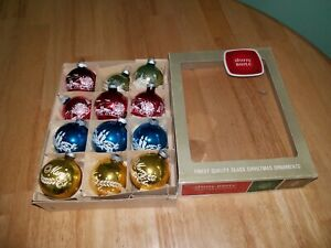 """12 Vintage Shiny Brite Stenciled 2.25"""" Christmas Ornaments in Box"""