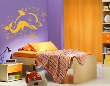 Dolphin with Sea Stars - highest quality wall decal stickers