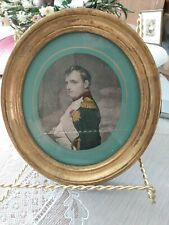 Antique Portrait Picture Of Napoleon In Oval French Toleware Frame Colored