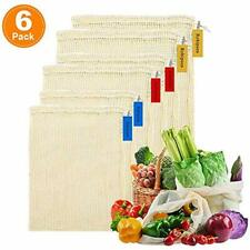 Reusable Produce Mesh Bags Washable Organic Cotton Vegetables Eco-Friendly Set