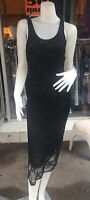 Women's Black Lace With Lining  Clubwear/Party Long Dress Size 8-10