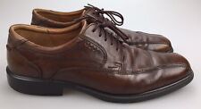 ECCO Shoes Men 9.5 / 43 Leather Bicycle Toe Lace-Up Brown Oxford Dress Shoes