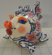 Diane Artware Stoneware 2002 Sugar Bowl Fish Tureen Fairy Cod Mother Pink Flower