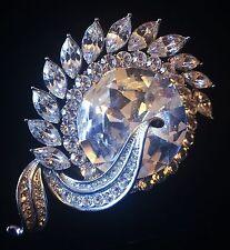 BROOCH PIN Using Swarovski Crystal Gemstone Fashion Wedding Bridal Silver 008