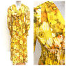 Vintage VTG 1970s 70s Yellow Floral Long Sleeve Maxi Dress