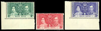 Hong Kong #151-153 MNH CV$32.50 1937 CORONATION SET