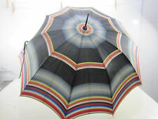 Vintage Black Striped Umbrella w/Bakelite Handle