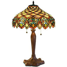 Tiffany Style Table Lamp Hancrafted Stained Glass Victorian Theme Copper Finish