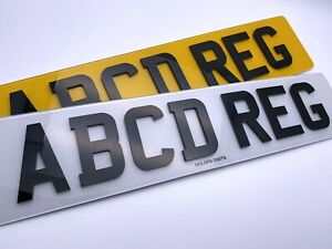 """4D 3D NUMBER PLATES ROAD LEGAL FRONT & REAR DOMED LASER CUT GLOSS BLACK 20"""" PAIR"""