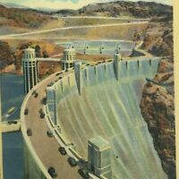 Boulder Dam Nevada to Arizona Highway Aerial View with Lake Mead Vintage Linen