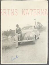 Vintage Car Photo Man w/ 1939 Plymouth Automobile on Roadside 727725
