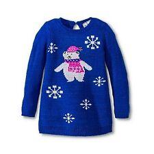 Toddler Girls Kobe Kids Glitter Polar Bear Blue Christmas Long Sweater - Size 3T