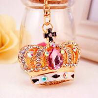 Pink Crown Crystal Keyring Charm Pendant Purse Bag Key Ring Chain Keychain