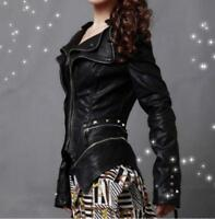 Punk Women's Rivet Shoulder PU Leather Spike Studded Motorcycle Coat Jacket Tops