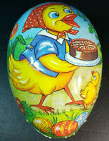 """Vintage German Paper Mache Easter Egg Candy Holder Mother Chicken with Cake 10"""""""