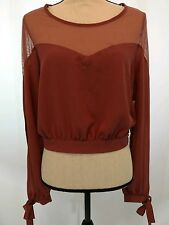 Charlotte Russe Women's  Blouse Size M Sexy Peasant Boho Sheer Slit Sleeves NWT