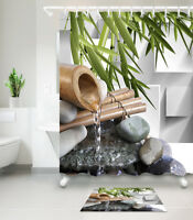 Bath Accessory Sets Waterproof Fabric Shower Curtain Fountain Zen Stones Bamboo