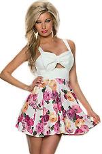 Abito ricamato gonna top nudo Stampa Fiocco scollo Blooming Flower Skater Dress