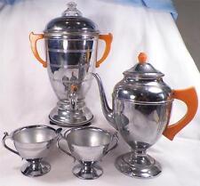 Mid Century Modern Coffee Set Bakelite Handles Chrome Coffeepot Teapot Creamer S